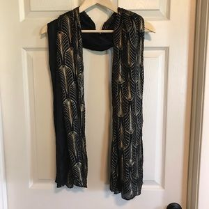 Art Deco black and gold scarf